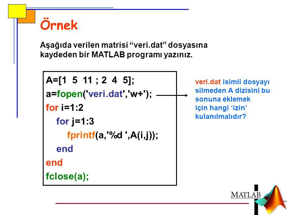Örnek A=[1 5 11 ; 2 4 5]; a=fopen( veri.dat , w+ ); for i=1:2